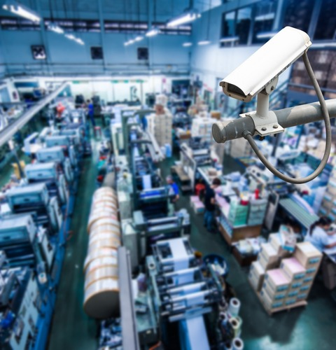 CCTV Camera or surveillance operating inside industrial factory