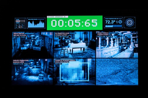 Monitor of pictures by surveillance cameras